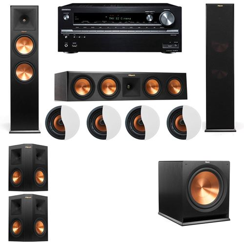 Dolby Atmos 5.1.4 Klipsch RP-280F Tower Speakers R-115SW with Onkyo TX-NR838