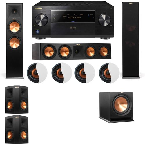 Dolby Atmos 5.1.4 Klipsch RP-280F Tower Speakers R112SW with Pioneer Elite SC-85