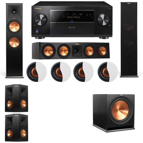 Dolby Atmos 5.1.4 Klipsch RP-280F Tower Speakers R115SW with Pioneer Elite SC-85