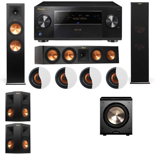 Dolby Atmos 5.1.4 Klipsch RP-280F Tower Speakers PL-200 with Pioneer Elite SC-85