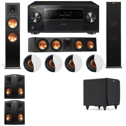 Dolby Atmos 5.1.4 Klipsch RP-280F Tower Speakers SDS12 with Pioneer Elite SC-85
