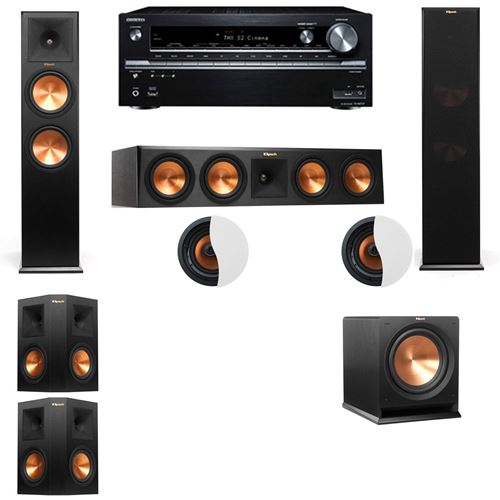 Dolby Atmos 5.1.2 Klipsch RP-280F Tower Speakers R112SW with Onkyo TX-NR838