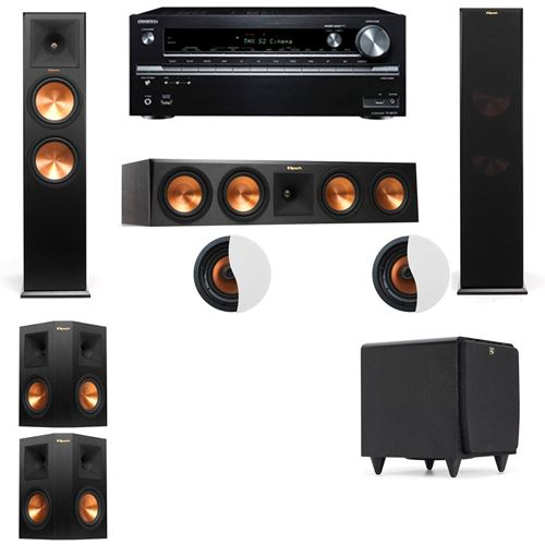 Dolby Atmos 5.1.2 Klipsch RP-280F Tower Speakers SDS12 with Onkyo TX-NR838