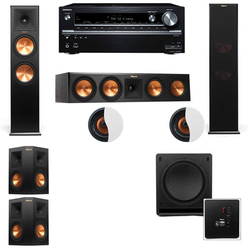 Dolby Atmos 5.1.2 Klipsch RP-280F Tower Speakers SW-112 with Onkyo TX-NR838