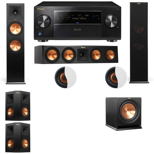 Dolby Atmos 5.1.2 Klipsch RP-280F Tower Speakers R112SW with Pioneer Elite SC-85