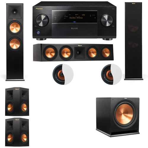 Dolby Atmos 5.1.2 Klipsch RP-280F Tower Speakers R115SW with Pioneer Elite SC-85