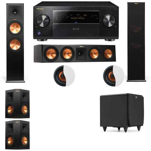 Dolby Atmos 5.1.2 Klipsch RP-280F Tower Speakers SDS12 with Pioneer Elite SC-85