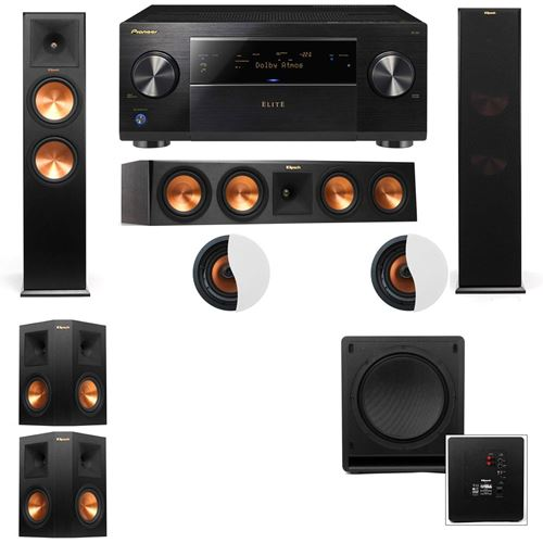 Dolby Atmos 5.1.2 Klipsch RP-280F Tower Speakers SW-112 with Pioneer Elite SC-85