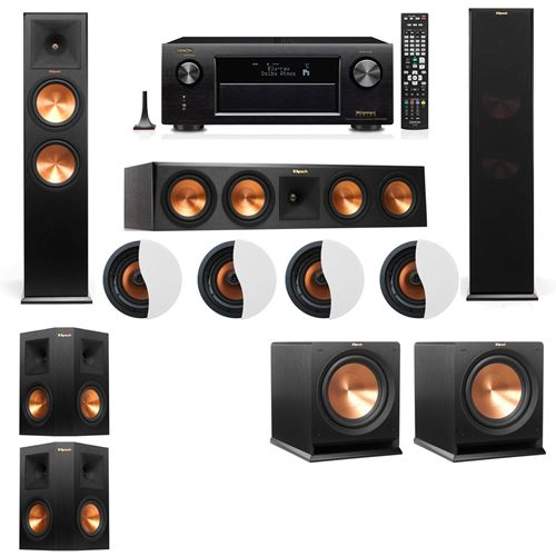 Dolby Atmos 5.2.4 Klipsch RP-280F Tower Speakers R112SW with Denon AVR-X4100W