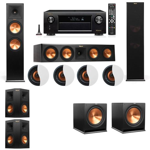 Dolby Atmos 5.2.4 Klipsch RP-280F Tower Speakers R115SW with Denon AVR-X4100W
