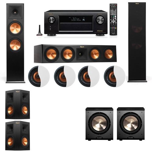 Dolby Atmos 5.2.4 Klipsch RP-280F Tower Speakers PL-200 with Denon AVR-X4100W
