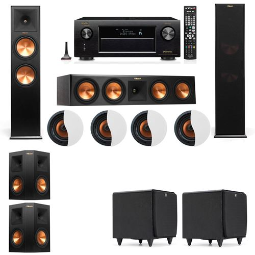 Dolby Atmos 5.2.4 Klipsch RP-280F Tower Speakers SDS12 with Denon AVR-X4100W