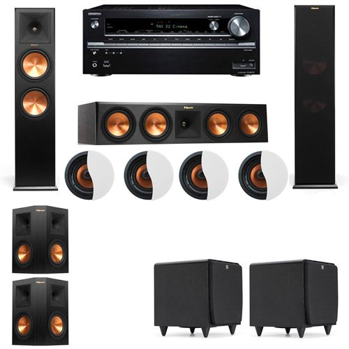 Dolby Atmos 5.2.4 Klipsch RP-280F Tower Speakers SDS12 with Onkyo TX-NR838
