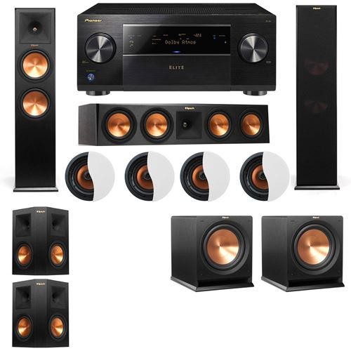 Dolby Atmos 5.2.4 Klipsch RP-280F Tower Speakers R112SW with Pioneer Elite SC-85