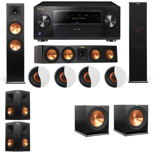 Dolby Atmos 5.2.4 Klipsch RP-280F Tower Speakers R115SW with Pioneer Elite SC-85