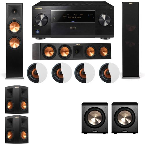 Dolby Atmos 5.2.4 Klipsch RP-280F Tower Speakers PL-200 with Pioneer Elite SC-85