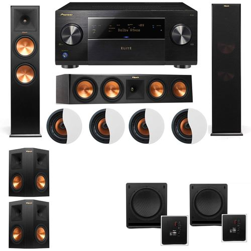 Dolby Atmos 5.2.4 Klipsch RP-280F Tower Speakers SW-112 with Pioneer Elite SC-85