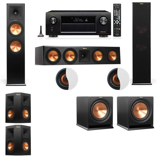 Dolby Atmos 5.2.2 Klipsch RP-280F Tower Speakers R112SW with Denon AVR-X4100W