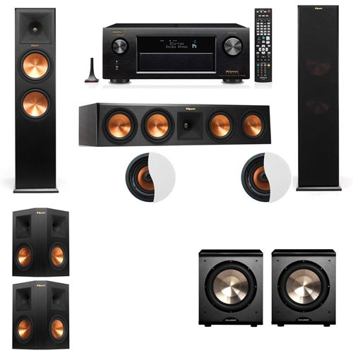 Dolby Atmos 5.2.2 Klipsch RP-280F Tower Speakers PL-200 with Denon AVR-X4100W