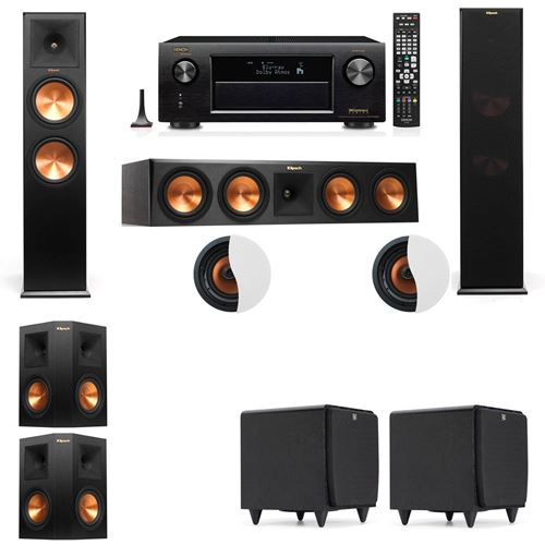 Dolby Atmos 5.2.2 Klipsch RP-280F Tower Speakers SDS12with Denon AVR-X4100W