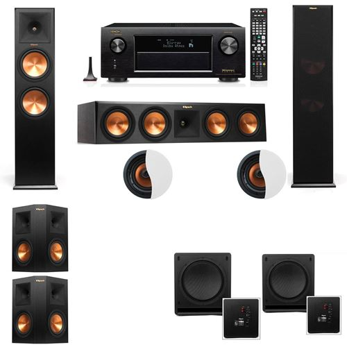 Dolby Atmos 5.2.2 Klipsch RP-280F Tower Speakers SW-112 with Denon AVR-X4100W
