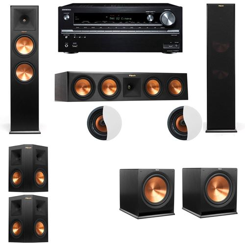 Dolby Atmos 5.2.2 Klipsch RP-280F Tower Speakers R115SW with Onkyo TX-NR838