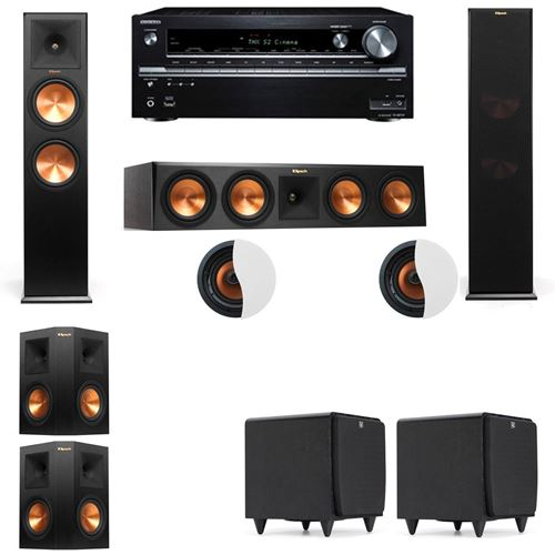 Dolby Atmos 5.2.2 Klipsch RP-280F Tower Speakers SDS12 with Onkyo TX-NR838