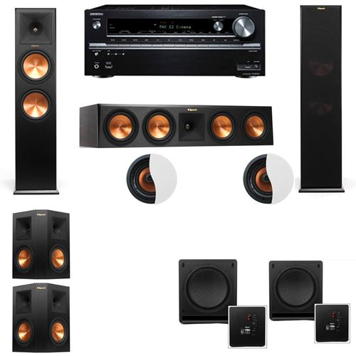 Dolby Atmos 5.2.2 Klipsch RP-280F Tower Speakers SW-112 with Onkyo TX-NR838