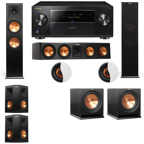 Dolby Atmos 5.2.2 Klipsch RP-280F Tower Speakers R112SW with Pioneer Elite SC-85