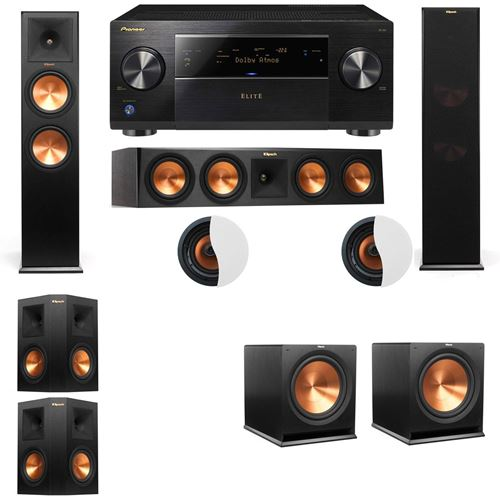 Dolby Atmos 5.2.2 Klipsch RP-280F Tower Speakers R115SW with Pioneer Elite SC-85
