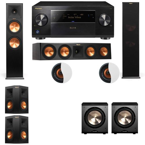 Dolby Atmos 5.2.2 Klipsch RP-280F Tower Speakers PL-200 with Pioneer Elite SC-85