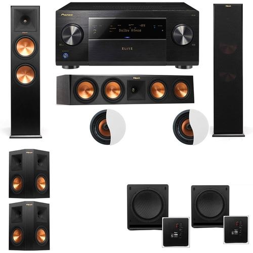 Dolby Atmos 5.2.2 Klipsch RP-280F Tower Speakers SW-112 with Pioneer Elite SC-85