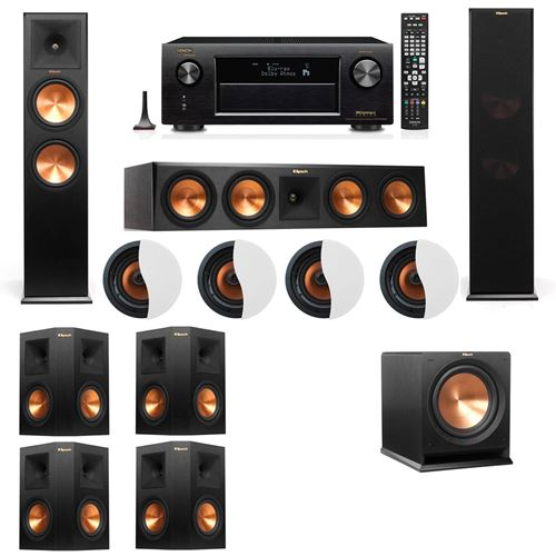 Dolby Atmos 7.1.4 Klipsch RP-280F Tower Speakers R112SW with Denon AVR-X4100W