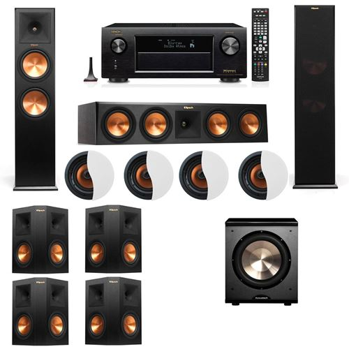 Dolby Atmos 7.1.4 Klipsch RP-280F Tower Speakers PL-200 with Denon AVR-X4100W
