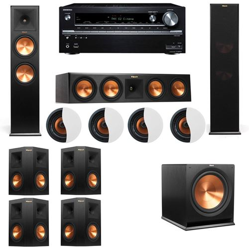 Dolby Atmos 7.1.4 Klipsch RP-280F Tower Speakers R115SW with Onkyo TX NR838