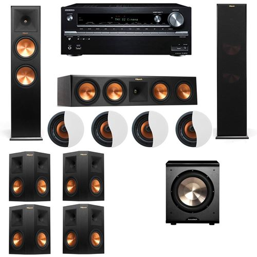 Dolby Atmos 7.1.4 Klipsch RP-280F Tower Speakers-PL-200 with Onkyo TX-NR838