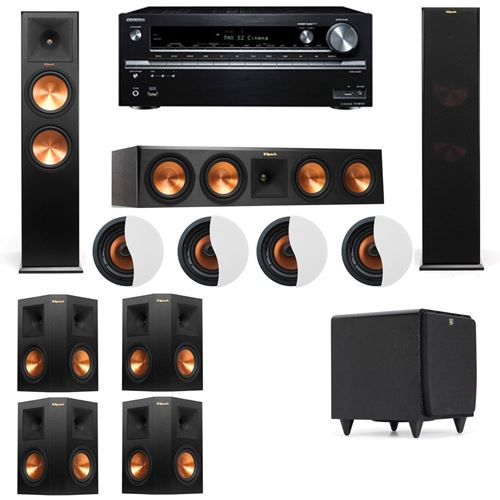 Dolby Atmos 7.1.4 Klipsch RP-280F Tower Speakers SDS12 with Onkyo TX-NR838