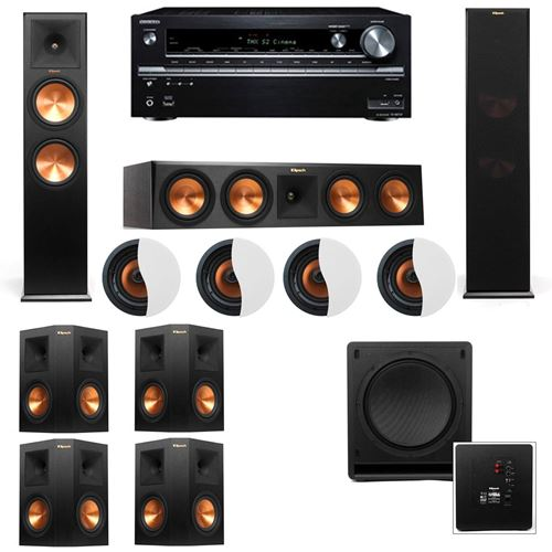 Dolby Atmos 7.1.4 Klipsch RP-280F Tower Speakers SW-112 with Onkyo TX-NR838