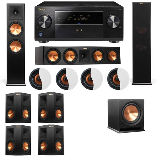 Dolby Atmos 7.1.4 Klipsch RP-280F Tower Speakers R112SW with Pioneer Elite SC-85