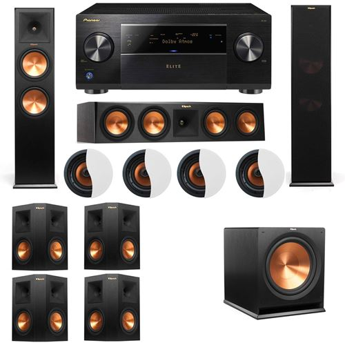 Dolby Atmos 7.1.4 Klipsch RP-280F Tower Speakers R115SW with Pioneer Elite SC-85