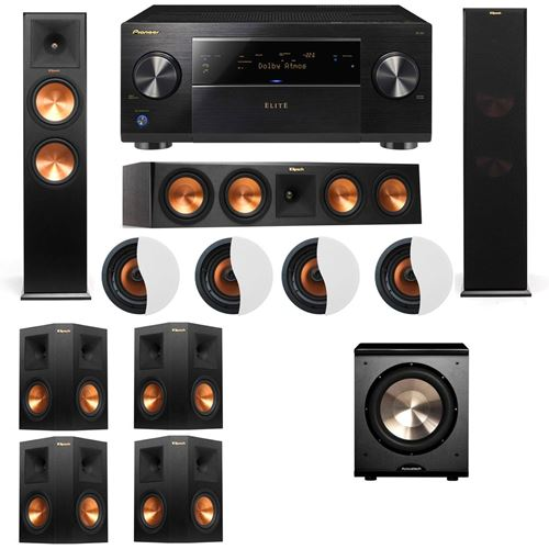 Dolby Atmos 7.1.4 Klipsch RP-280F Tower Speakers PL-200 with Pioneer Elite SC-85