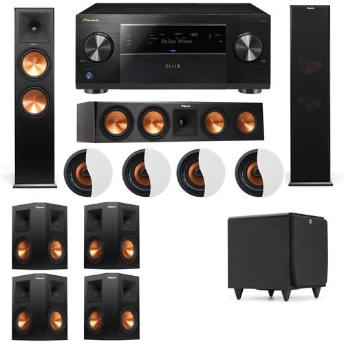 Dolby Atmos 7.1.4 Klipsch RP-280F Tower Speakers SDS12 with Pioneer Elite SC-85