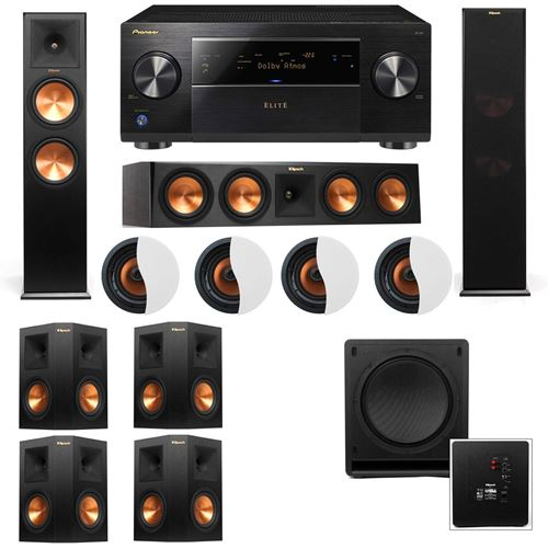 Dolby Atmos 7.1.4 Klipsch RP-280F Tower Speakers SW-112 with Pioneer Elite SC-85