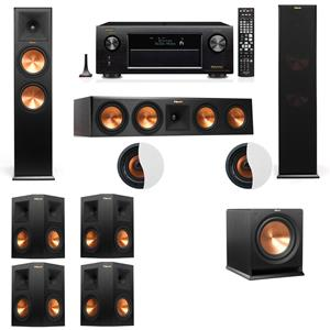 Dolby Atmos 7.1.2 Klipsch RP-280F Tower Speakers R112SW with Denon AVR-X4200W