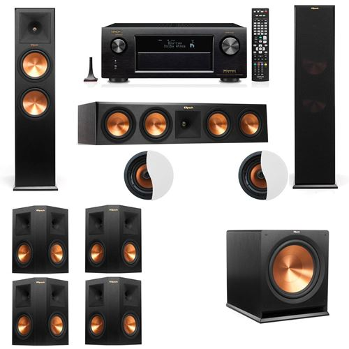 Dolby Atmos 7.1.2 Klipsch RP-280F Tower Speakers R115SW with Denon AVR-X4100W