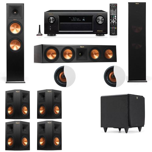 Dolby Atmos 7.1.2 Klipsch RP-280F Tower Speakers SDS12 with Denon AVR-X4100W