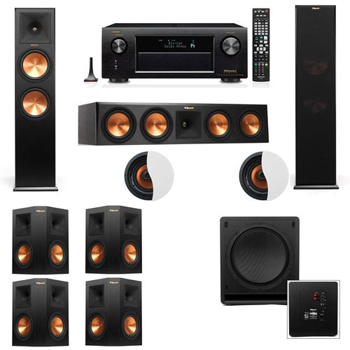 Dolby Atmos 7.1.2 Klipsch RP-280F Tower Speakers SW-112 with Denon AVR-X4100W