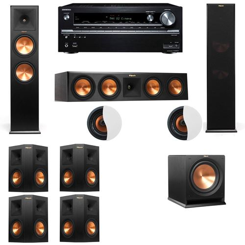 Dolby Atmos 7.1.2 Klipsch RP-280F Tower Speakers R112SW with Onkyo TX-NR838