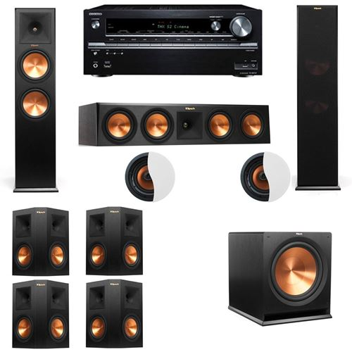 Dolby Atmos 7.1.2 Klipsch RP-280F Tower Speakers R115SW with Onkyo TX NR838