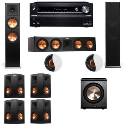 Dolby Atmos 7.1.2 Klipsch RP-280F Tower Speakers-PL-200 with Onkyo TX-NR838